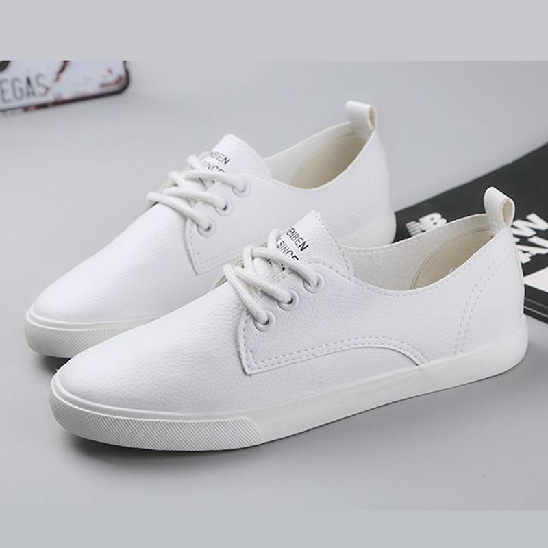 Sneakers Women Casual Leather Lacing Zapatos
