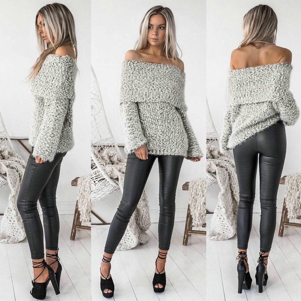 6e632ea65ae Womens Sexy Off Shoulder Jumper Slash Neck Long Sleeve Knitted Pullovers