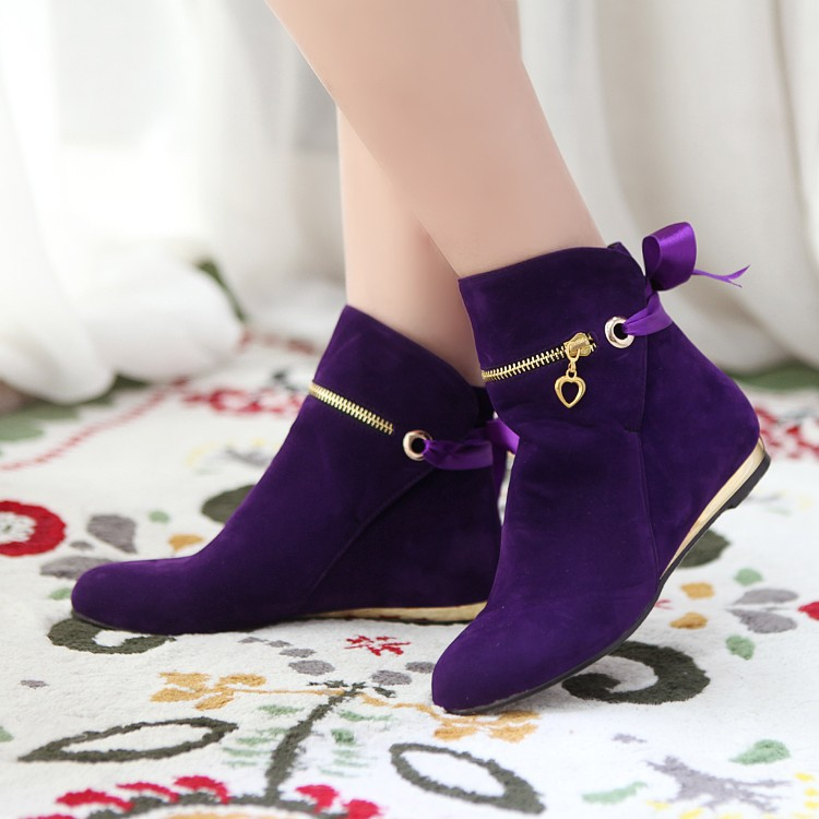 Women's Pure Color Flat Heel With Front Zippers Lace Short Tassel Boots