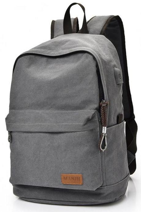 Canvas Backpack Pure Color College Casual Travel Usb Port