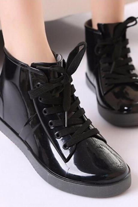 Rain Boots Women Lace-up Solid Flats Round Toe