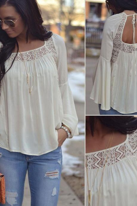New Fashion Women Bell Sleeves Embroidery Top Blouse Lace Crochet Chiffon Shirt