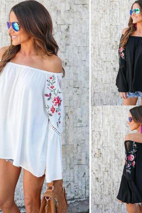 Off-The-Shoulder Floral Embroidered Top with Long Flared Sleeves