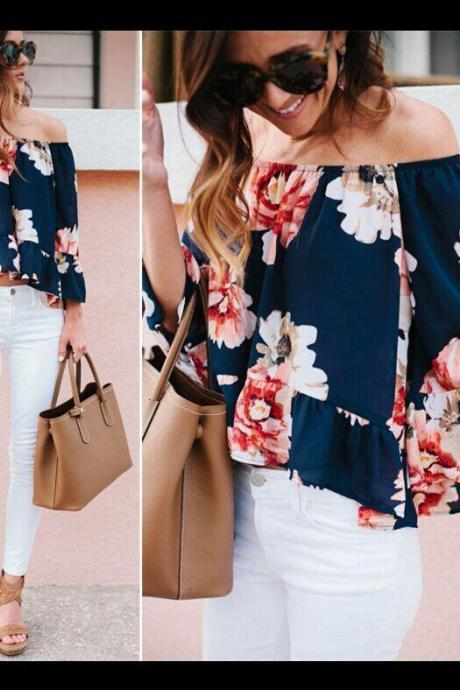 Womens Floral Printed Off Shoulder Long Sleeve Blouse