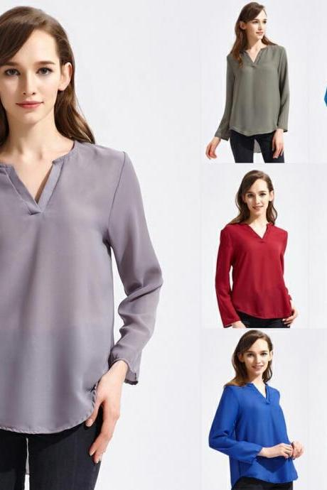 Sexy Women Fashion Casual Long Sleeve V Neck Solid Color Chiffon Blouse Tops Ladies Autumn Winter Loose Tops