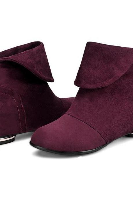 Women's Pure Color Low Heel Inside Heighten Suede With Back Zippers Boots