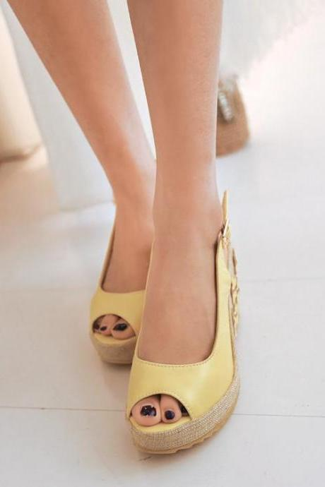 Women's Pure Color Wedge Heel Band Flower Pumps