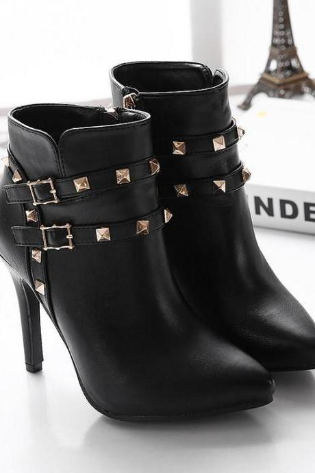 Pointed-Toe Stiletto Ankle Boots with Rivet Detailing