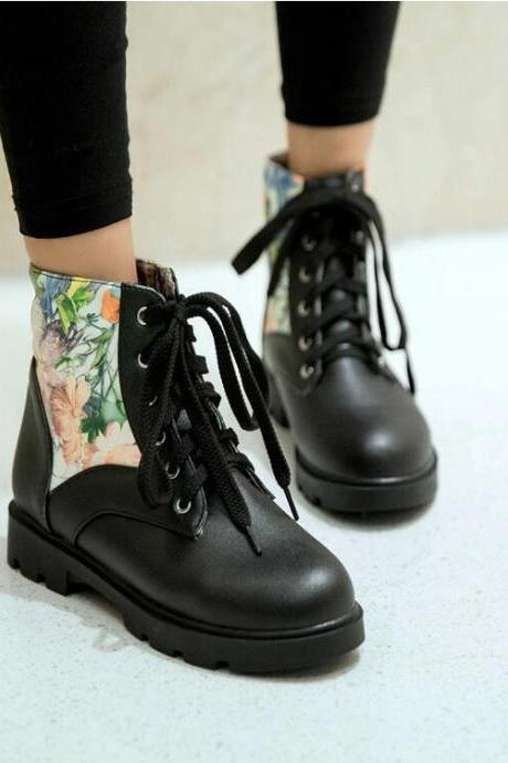 Women's Sweet Fashion Printing Tied Ankle Boot