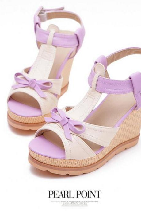 Women's Sweet Fashion Comfortable Wedge-soled Shoes With Bowknot Decoration