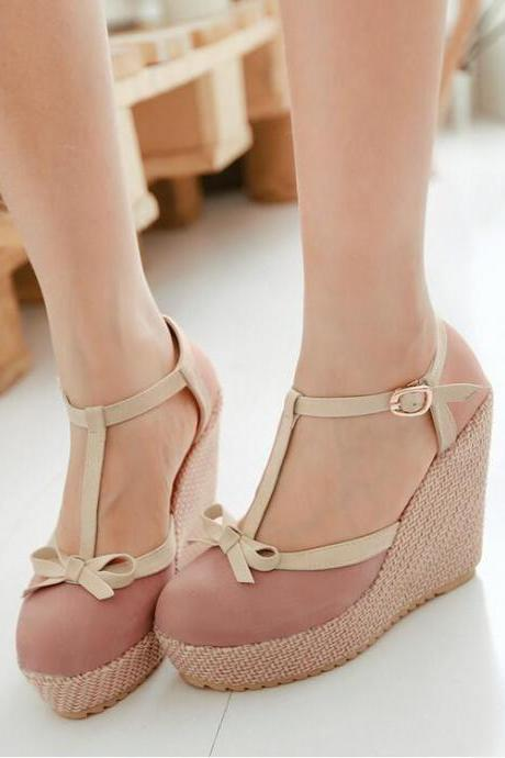 Women's Sweet Fashion Leasure Wedge-soled Shoes With Bowknot Decoration