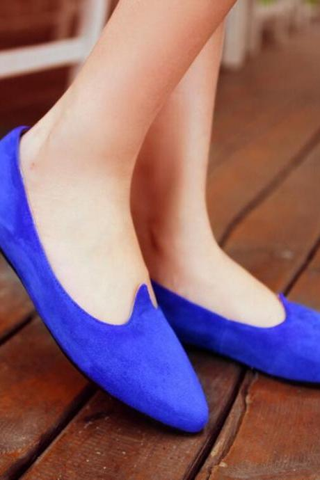 Faux Suede Pointed-Toe Flats