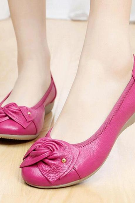 Women's Leather Leisure Flat Shoes