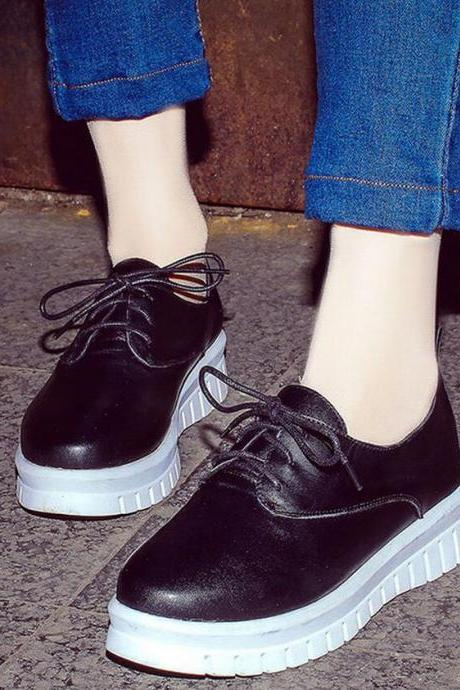 Sneakers Women Leather Solid Lace Up Flat Shoes Platform Round Toe Oxford