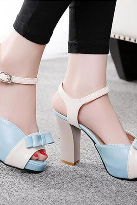 Sandals Heels Women Sweet Bow Hasp Thick High Heel Mixed Colors Open Toe