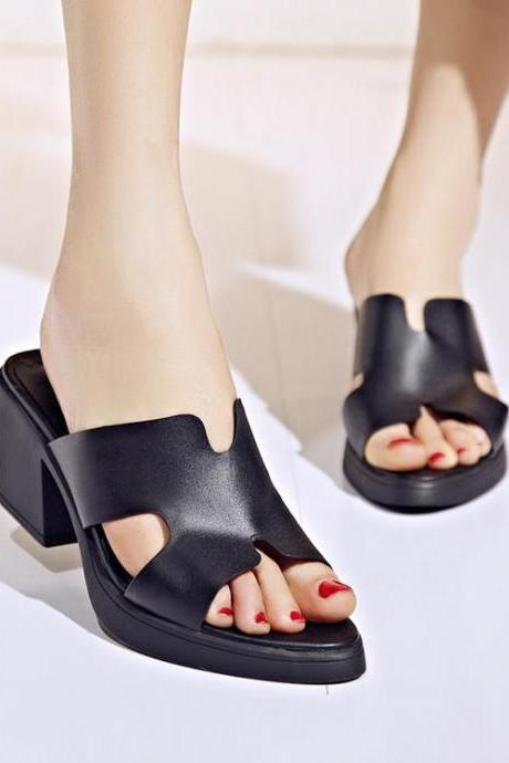 Women Solid Open Toe Square Heel High Heels Slippers