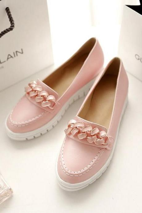 Women Casual Chaid Platform Flat Hidden Heel Moccasins