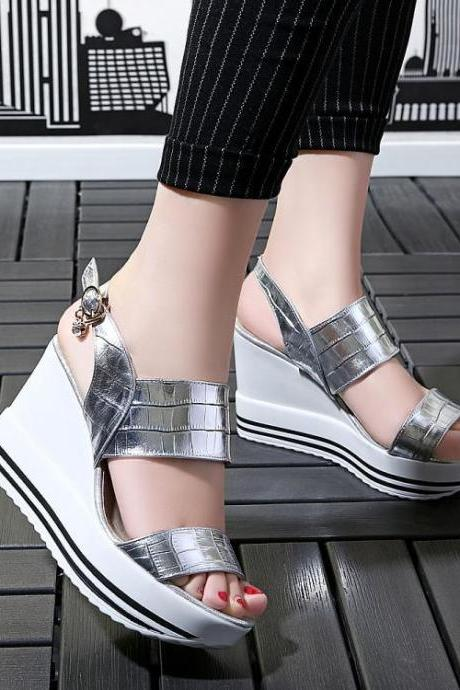 Women Textured Leather Metallic Slingback Wedge Sandals with Delicate Charm