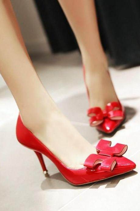 Womens Fashion Sexy Bow Solid Round Toe Thin High Heel Stiletto Pumps