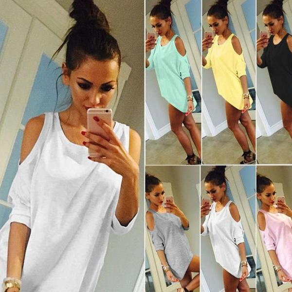 Womens Pure Color Off Shoulder Half Sleeve T Shirt