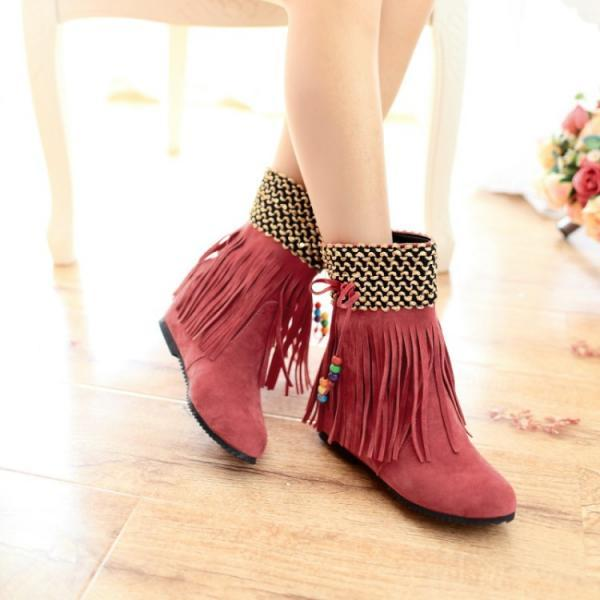 Women's Pure Color Flat Heel Inside Heighten Tassel Short Boots